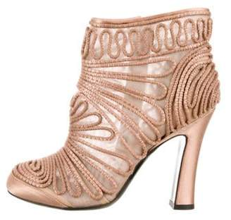Alberta Ferretti Embroidered Ankle Boots Champagne Embroidered Ankle Boots