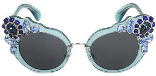 Miu Miu Butterfly Sunglasses SMU04SS VAA1A1 52 | Blue Acetate Frame | Blue Gradient Lenses