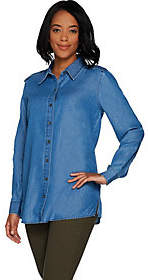 Martha Stewart Button Front Chambray Blousewith Side Slits