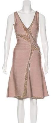 Herve Leger Embellished A-Line Dress