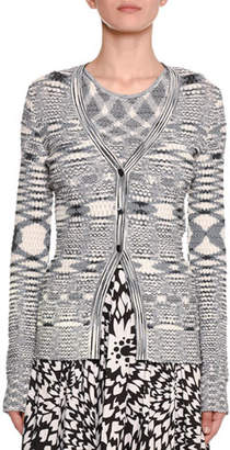 Missoni Three-Button Fish-Scale Space-Dye Knit Cardigan