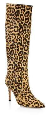 Gianvito Rossi Leopard-Print Slouchy Claf Hair Knee-High Boots