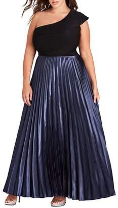 City Chic Rosa One Shoulder Pleat Maxi Dress
