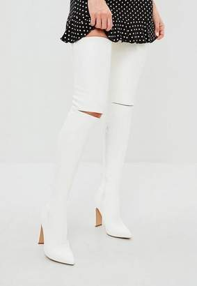 Missguided White Slashed Detail Over The Knee Boot