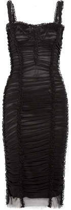 Lace-trimmed Ruched Stretch-tulle Dress - Black