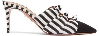 Aquazzura Mondaine 75 Knotted Striped Mules - Womens - Black White
