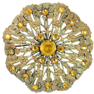 One Kings Lane Vintage Victorian Floral Amber Crystal Brooch - Neil Zevnik