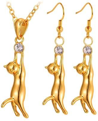 U7 Crystal Rhinestone Cat Jewelry Set Women Girls Cat Pendant Necklace with Drop Earrings (black-gun-plated)