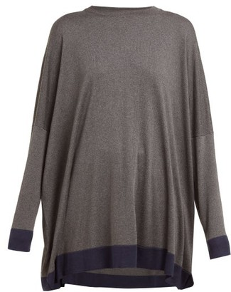 eskandar Contrast Trim Knitted Silk Sweater - Womens - Grey Navy