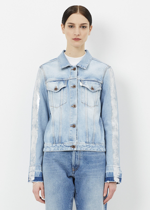 Off-White bleach white slim denim jacket $776 thestylecure.com