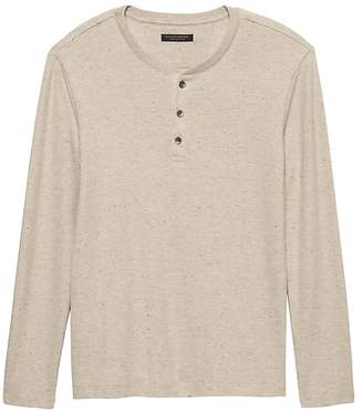 Banana Republic Waffle-Knit Henley Thermal T-Shirt