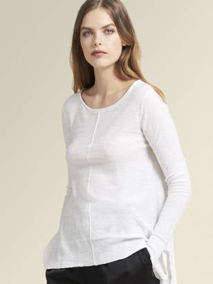 DKNY Linen Crew Neck Pullover With Side Slits