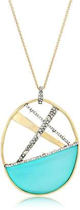 Alexis Bittar Crystal Encrusted Crosshatch Pendant Necklace with Lucite Detail