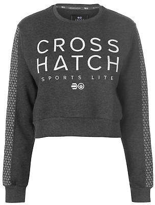 Crosshatch Womens Clio Cropped Sweater Crew Jumper Pullover Long Sleeve Neck