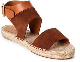 Chloé Tuscan Leather & Suede Flat Espadrille Sandals