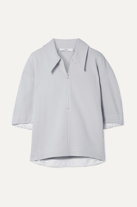 Tibi Frisse Oversized Ponte Polo Shirt - Light gray