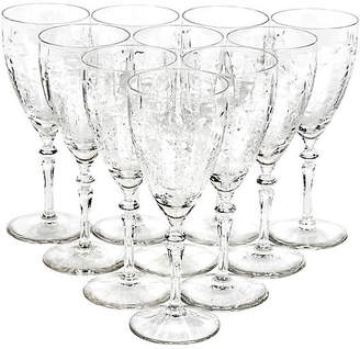 One Kings Lane Vintage Art Deco Floral-Etched Wine Stems - Set of 10 - 2-b-Modern
