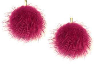 """Tuleste 2"""" Dusty Rose Mink Pom Pom Stud Earrings"""