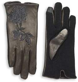 Lauren Ralph Lauren Floral Embroidered Wool-Blend Gloves