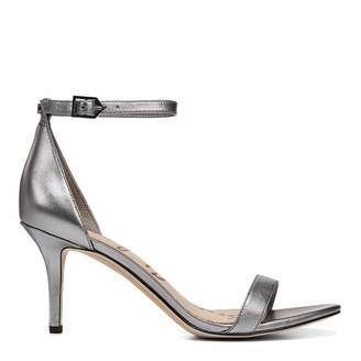 a43863e8722d at Brand Alley · Pewter Metallic Leather Pattie Heeled Sandals