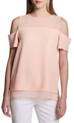 Calvin Klein Layered Cold-Shoulder Top
