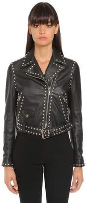 Moschino Studded Logo Leather Biker Jacket