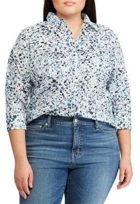 Lauren Ralph Lauren Plus Straight-Fit Cotton Button-Down Shirt