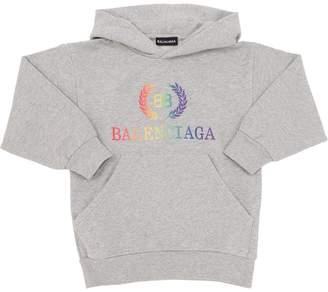Balenciaga Rainbow Logo Cotton Sweatshirt Hoodie