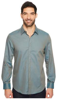 Perry Ellis Long Sleeve Solid Jacquard Shirt Men's Long Sleeve Button Up