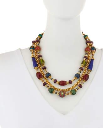 Jose & Maria Barrera 3-Strand Cloisonne, Agate & Chain Necklace