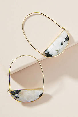 Anthropologie Large Stone Crescent Hoop Earrings