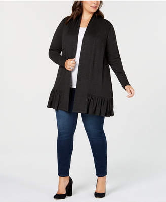 Belldini Plus Size Ruffle-Hem Long Cardigan