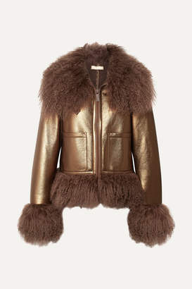 Michael Kors Shearling-trimmed Metallic Leather Bomber Jacket - Bronze