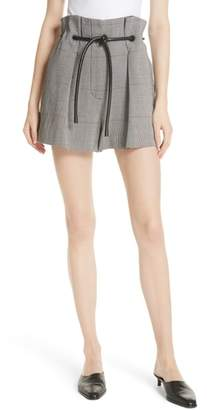 3.1 Phillip Lim Plaid Belted Wool Blend Shorts