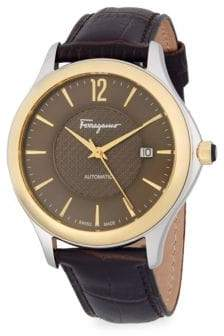 Salvatore Ferragamo Stainless Steel Automatic Leather-Strap Watch