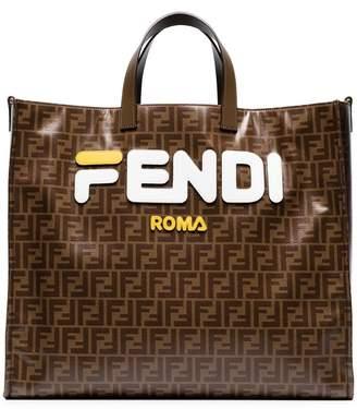 Fendi Mania brown and white large logo print tote bag