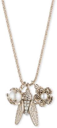 "Marchesa Gold-Tone Crystal & Imitation Pearl Garden Charm Pendant Necklace, 18"" + 3"" extender"