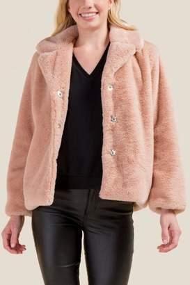francesca's Thalia Short Faux Fur Coat - Blush