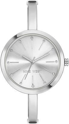 Nine West Women's Silvertone Crystal Bangle Watch