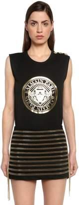 Balmain Logo Printed Jersey Sleeveless T-Shirt