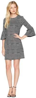 Calvin Klein Ponte Plaid Bell Sleeve Sheath Dress CD8P286L Women's Dress