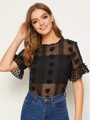 Shein 3D Appliques Detail Flounce Sleeve Sheer Top With Tube