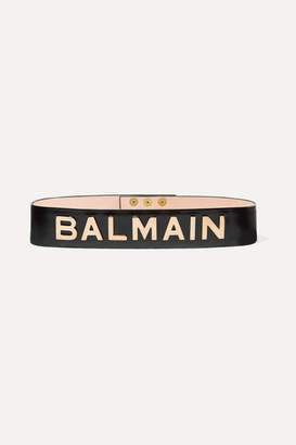 Balmain Embellished Glossed-leather Belt - Black