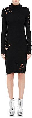 Ben Taverniti Unravel Project Women's Cashmere Destroyed Turtleneck Sweaterdress-BLACK $1,420 thestylecure.com