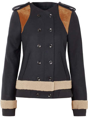 Derek Lam Shearling And Suede-paneled Wool-blend Felt Jacket - Navy