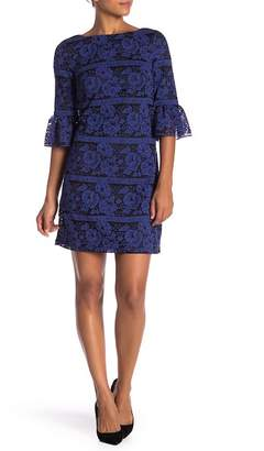 Eliza J Elbow Sleeve Lace Knit Shift Dress