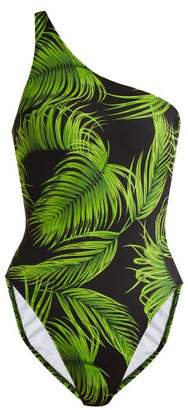 Milo One Shoulder Swimsuit - Womens - Green Print
