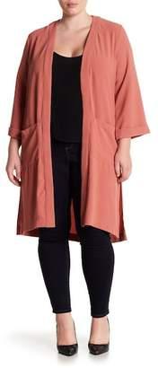 Bobeau Slit Side Long Cardigan (Plus Size)