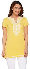 C. Wonder Embroidered Split V-neck Short SleeveKnit Tunic