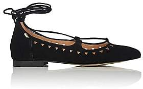 Barneys New York WOMEN'S PERFORATED SUEDE LACE-UP FLATS - BLACK SIZE 5
